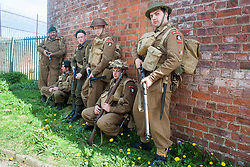 Reenactors of the NWW2A Fox Commando group during a 1940s wartime weekend at Fort Paull on Bank Holiday Monday ..5 May 2013.Image © Paul David Drabble