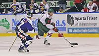 Ishockey , <br /> Treningskamp , <br /> Sparta Amfi , <br /> 07.08.2010 , <br /> Sparta v Frölunda Indians , <br /> Ville Mäntumaa i duell med Patrik Bovim ,<br /> Foto: Thomas Andersen / Digitalsport ,