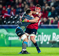 Shaun Venter of Ospreys under pressure from CJ Stander of Munster <br /> <br /> Photographer Simon King/Replay Images<br /> <br /> European Rugby Champions Cup Round 1 - Ospreys v Munster - Saturday 16th November 2019 - Liberty Stadium - Swansea<br /> <br /> World Copyright © Replay Images . All rights reserved. info@replayimages.co.uk - http://replayimages.co.uk