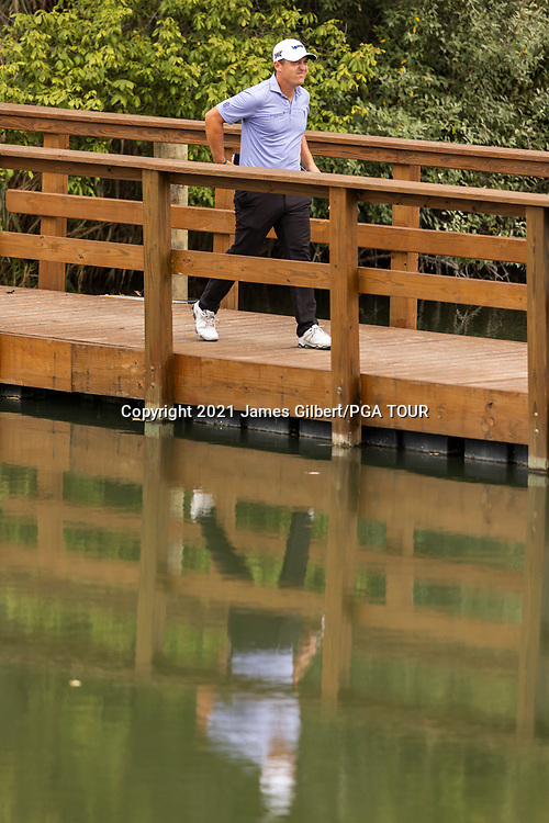 NEWBURGH, IN - SEPTEMBER 04: Justin Lower walks across a bridge to the 17th tee during the third round of the Korn Ferry Tour Championship presented by United Leasing and Financing at Victoria National Golf Club on September 4, 2021 in Newburgh, Indiana. (Photo by James Gilbert/PGA TOUR via Getty Images)