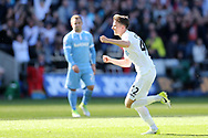 Tom Carroll of Swansea city celebrates after he scores his teams 2nd goal.  Premier league match, Swansea city v Stoke City at the Liberty Stadium in Swansea, South Wales on Saturday 22nd April 2017.<br /> pic by Andrew Orchard, Andrew Orchard sports photography.