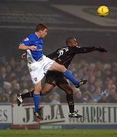 Photo: Daniel Hambury.<br /> The Coca Cola Championship.<br /> Ipswich Town V Wigan Athletic.   21/12/2004<br /> Ipswich's Jason De Vos and Wigan's Nathan Ellington