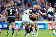 Hull FC loose forward and captain Gareth Ellis (13) in the tackle during the Challenge Cup 2017 semi final match between Hull RFC and Leeds Rhinos at the Keepmoat Stadium, Doncaster, England on 29 July 2017. Photo by Simon Davies.
