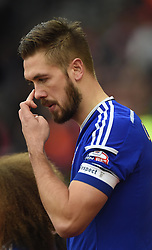 Ipswich Town captain Luke Chambers emerges from the tunnel at St Mary's Stadium to face Southampton in FA Cup Third Round - Photo mandatory by-line: Paul Knight/JMP - Mobile: 07966 386802 - 04/01/2015 - SPORT - Football - Southampton - St Mary's Stadium - Southampton v Ipswich Town - FA Cup Third Round