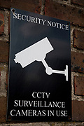 CCTV Security Camera Sign warms that cameras for surveillance are in use in the area.