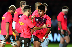 Danny Care of Harlequins gives Marcus Smith of Harlequins some advice - Mandatory by-line: Robbie Stephenson/JMP - 06/10/2017 - RUGBY - Twickenham Stoop - London, England - Harlequins v Sale Sharks - Aviva Premiership