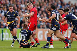 Bristol Rugby Number 8 Mitch Eadie is tackled by Worcester Number 8 GJ Van Velze - Photo mandatory by-line: Rogan Thomson/JMP - 07966 386802 - 27/05/2015 - SPORT - Rugby Union - Worcester, England - Sixways Stadium - Worcester Warriors v Bristol Rugby - Greene King IPA Championship Play-Off Final 2nd Leg.