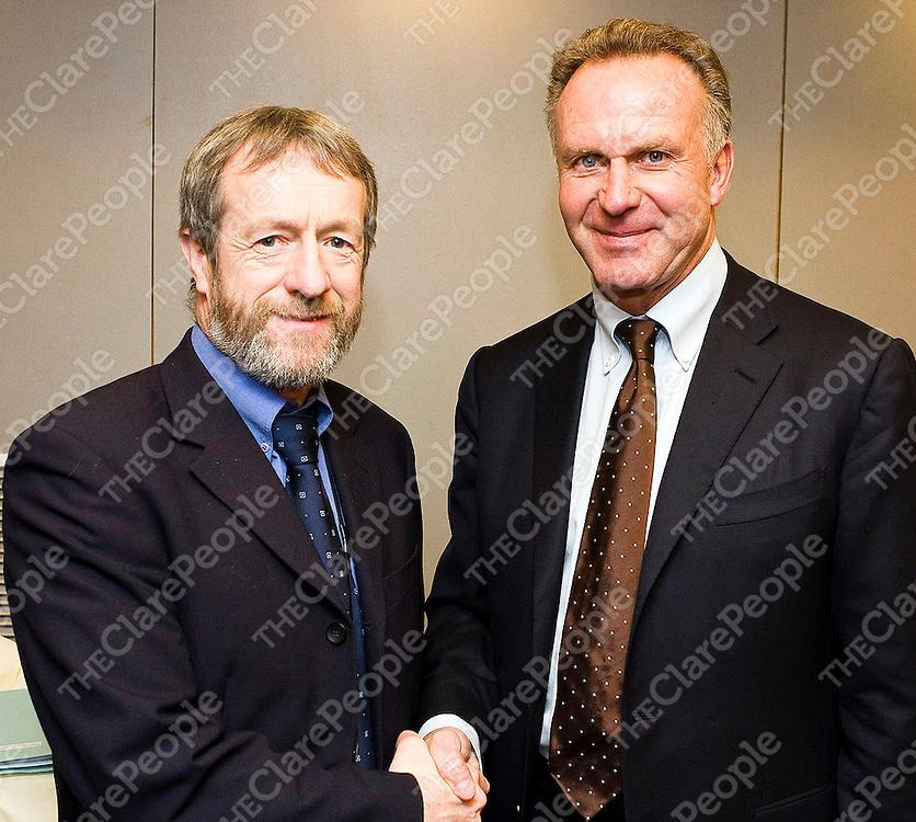 Sean Kelly MEP with Karl Heinz Rummenigge, Chairman of the European Club Association, former German international and CEO of Bayern Munich