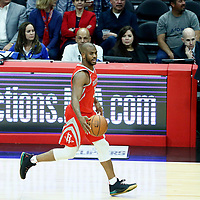 28 February 2018: Houston Rockets guard Chris Paul (3) brings the ball up court passing by Houston Rockets head coach Mike D'Antoni during the Houston Rockets 105-92 victory over the LA Clippers, at the Staples Center, Los Angeles, California, USA.
