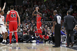 December 27, 2017 - Chicago, IL, USA - The Chicago Bulls' Justin Holiday (7) makes a game-tying with less than three minutes to play during the fourth quarter against the New York Knicks at the United Center in Chicago on Wednesday, Dec. 27, 2017. The Bulls won, 92-87. (Credit Image: © Armando L. Sanchez/TNS via ZUMA Wire)