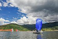 Sailing on Ruedi Reservoir near Aspen, Colorado.