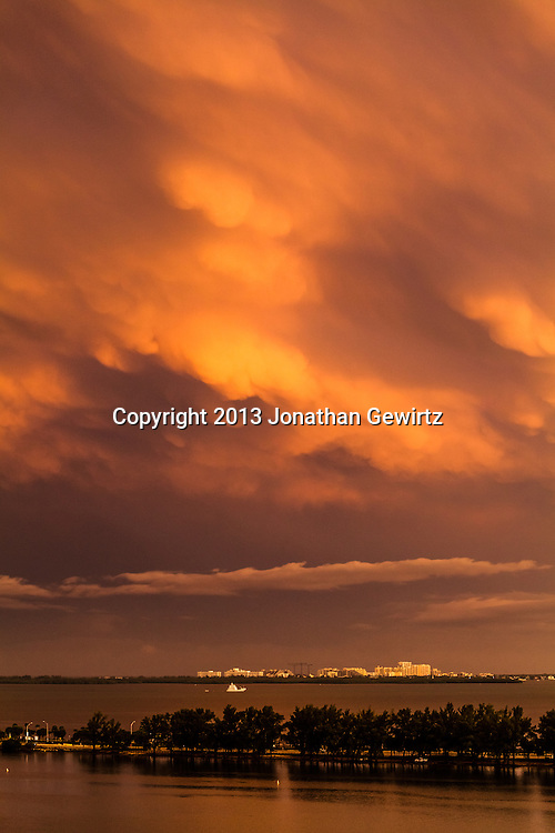 Dramatic late-afternoon storm clouds over Key Biscayne and the Rickenbacker Causeway. WATERMARKS WILL NOT APPEAR ON PRINTS OR LICENSED IMAGES.