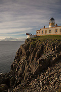 Neist Point Lighthouse in Glendale on the 4th September 2016 on the Isle of Skye in Scotland in the United Kingdom. Neist Point is the most Westerly point on the Isle of Skye with views over Moonen Bay to Waterstein Head.