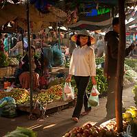 Vegetable market in Vientiane, Laos.