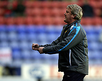 Photo: Paul Greenwood/Sportsbeat Images.<br />Wigan Athletic v Blackburn Rovers. The FA Barclays Premiership. 15/12/2007.<br />Wigan manager Steve Bruce celebrates after Wigan take a three goal lead