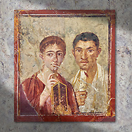 Roman fresco  portrait of a baker, Terentius, and his wife in the pose of intellectuals, Naples National Archaeological Museum , their expressions capture the sense of a real moment that connects with the viewer in a direct realistic way , Pompeii VII 2,6 , inv 9058 .  Wall art print by Photographer Paul E Williams If you prefer visit our World Gallery Print Shop To buy a selection of our prints and framed prints desptached  with a 30-day money-back guarantee and is dispatched from 16 high quality photo art printers based around the world. ( not all photos in this archive are available in this shop) https://funkystock.photoshelter.com/p/world-print-gallery .<br /> <br /> USEFUL LINKS:<br /> Visit our other HISTORIC AND ANCIENT ART COLLECTIONS for more photos to buy as wall art prints  https://funkystock.photoshelter.com/gallery-collection/Ancient-Historic-Art-Photo-Wall-Art-Prints-by-Photographer-Paul-E-Williams/C00002uapXzaCx7Y