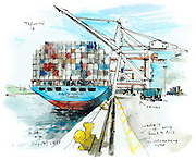The Cargo ship Maersk Kawasaki is being loaded at Port of Seattle's Terminal 18. (Gabriel Campanario / The Seattle Times)