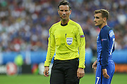 Referee Mark Clattenburg (England) during the Euro 2016 final between Portugal and France at Stade de France, Saint-Denis, Paris, France on 10 July 2016. Photo by Phil Duncan.