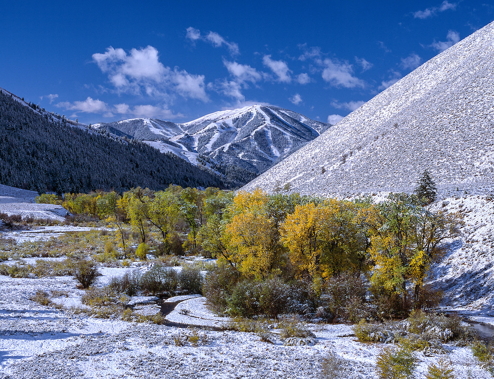 Limited Edition of 19<br /> First Snow Storm of the Season Blankets Sun Valley's Baldy Mountain and Contrasts Beautifully with the Autumn Colors of Trail Creek. Horizontal Print
