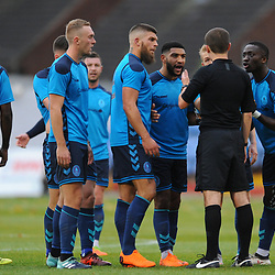 TELFORD COPYRIGHT MIKE SHERIDAN 3/11/2018 - Telford players remonstrate with the referee after Daniel Udoh of AFC Telford is sent off for a second yellow card in the first half during the Vanarama Conference North fixture between Alfreton Town vs AFC Telford United.