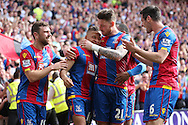 Dwight Gayle of Crystal Palace (2nd left) celebrates with Connor Wickham of Crystal Palace after scoring his sides 2nd goal to make it 2-1.Barclays Premier League match, Crystal Palace v Stoke City at Selhurst Park in London on Saturday 7th May 2016. pic by John Patrick Fletcher, Andrew Orchard sports photography.