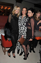 Left to right, KIM HERSOV, TIPHAINE CHAPMAN and NEFER SUVIO at a private dinner hosted by Lucy Yeomans in honour of Jason Brooks at The Cafe Royal, Regent Street, London on 13th February 2013.