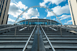 © Licensed to London News Pictures. 15/04/2021. LONDON, UK.  A general view of the soon to be completed Olympic Steps at Wembley Stadium.  The 48 Olympic Steps comprises 4 flights of 12 steps and will become the new gateway to the stadium for visitors and fans arriving from Olympic Way and is due to be completed in June 2021 in time for England group stage matches at Euro 2020.  Photo credit: Stephen Chung/LNP