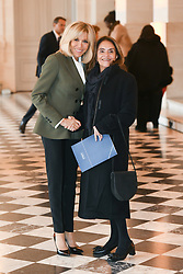 French President's wife Brigitte Macron welcomes the wife of the OECD Secretary-General, Lulu Quintana de Gurria as they take part in a spousal event at the Chateau de Versailles in Versailles, near Paris, on November 11, 2018 as part of commemorations marking the 100th anniversary of the 11 November 1918 armistice, ending World War I. Photo By Laurent Zabulon/ABACAPRESS.COM