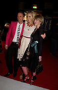 Patrick Cox, Donna Air and Francesca Air. The Moet & Chandon Fashion Tribute 2005 to Matthew Williamson,  Old Billingsgate market, London. 16th February 2005. ONE TIME USE ONLY - DO NOT ARCHIVE  © Copyright Photograph by Dafydd Jones 66 Stockwell Park Rd. London SW9 0DA Tel 020 7733 0108 www.dafjones.com