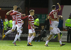 Hamilton Academical's Danny Redmond (right) celebrates scoring his side's first goal of the game during the Scottish Premiership match at New Douglas Park, Hamilton.