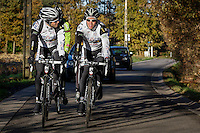 German cyclocross pro rider Philipp Walsleben of BKCP-Powerplus team (R) and team mate Niels Albert (L) during a training session, in Aarschot, November 20, 2013.  Babylonia/Thierry Roge
