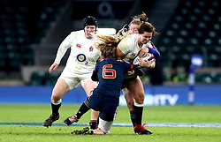Marlie Packer of England tries to run through a tackle from Marjorie Mayans of France Women - Mandatory by-line: Robbie Stephenson/JMP - 04/02/2017 - RUGBY - Twickenham - London, England - England v France - Women's Six Nations