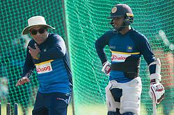 December 28, 2017 - Colombo, Western Province, Sri Lanka - Sri Lanka head coach Chandika Hathurusingha (L) giving some advice to young batsman Kusal Mendis (R) during net session (Credit Image: © Sameera Peiris/Pacific Press via ZUMA Wire)