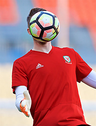 NANNING, CHINA - Tuesday, March 20, 2018: Wales' goalkeeper Wayne Hennessey during a training session at the Guangxi Sports Centre ahead of the opening 2018 Gree China Cup International Football Championship match against China. (Pic by David Rawcliffe/Propaganda)