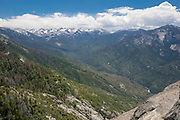 Looking toward the Sierra Nevada Mountains from Moro Rock, Sequoia National Park, Tulare County, California, USA.