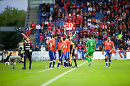 14.09.13. Brondby, Denmark.Chile's Alexis Sanchez  (R) during the international friendly match at the Brondby Stadium in Denmark.Photo: © Ricardo Ramirez