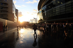 14 September 2017 -  UEFA Europa League (Group H) - Arsenal v FC Koln - A heavy shower gives way to bright evening sunshine at the Emirates Stadium - Photo: Marc Atkins/Offside