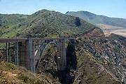 Late morning view of the famous Bixby Creek Bridge on Highway 1, near Carmel, Monterey County, California, USA.