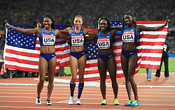 USA 4x100m Relay Team Aaliyah Brown, Allyson Felix, Morolake Akinosun and Tori Bowie celebrate taking gold during day nine of the 2017 IAAF World Championships at the London Stadium.