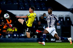 Ryan Fallowfield of Harrogate Town clears the ball from Rekeem Harper of West Bromwich Albion - Mandatory by-line: Robbie Stephenson/JMP - 16/09/2020 - FOOTBALL - The Hawthorns - West Bromwich, England - West Bromwich Albion v Harrogate Town - Carabao Cup