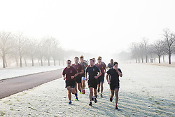 Windsor, UK. 22nd November, 2018. Soldiers train in heavy frost and foggy conditions alongside the Long Walk in Windsor Great Park. There was widespread frost and freezing fog in Berkshire this morning but temperatures are expected to rise to more normal temperatures for November for a few days from tomorrow.