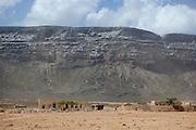 Dese Brho village sitting under the cliffs at Qa'arah Socotra, Yemen