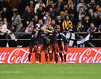Atletico de Madrid´s players celebrating a goal during 2015/16 La Liga match between Valencia and Atletico de Madrid at Mestalla stadium in Madrid, Spain. March 6, 2016. (ALTERPHOTOS/Javier Comos)