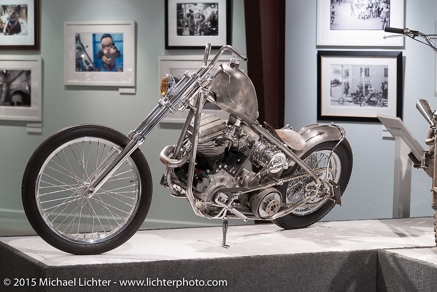 """Aki Sakamoto's Harley Davidson FLHin Michael Lichter's Motorcycles as Art annual exhibition titled """"The Naked Truth"""" at the Buffalo Chip Gallery during the 75th Annual Sturgis Black Hills Motorcycle Rally.  SD, USA.  August 4, 2015.  Photography ©2015 Michael Lichter."""