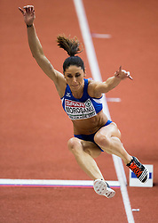 Angela Moroşanu of Romania competes in the Long Jump Women Qualification on day two of the 2017 European Athletics Indoor Championships at the Kombank Arena on March 4, 2017 in Belgrade, Serbia. Photo by Vid Ponikvar / Sportida