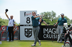 © Licensed to London News Pictures. 01/07/2017. London, UK, Actor James Nesbitt tees off from the 8th during The 2017 Celebrity Cup golf tournament at the Celtic Manor Resort, Newport, South Wales. Photo credit: Jeff Thomas/LNP