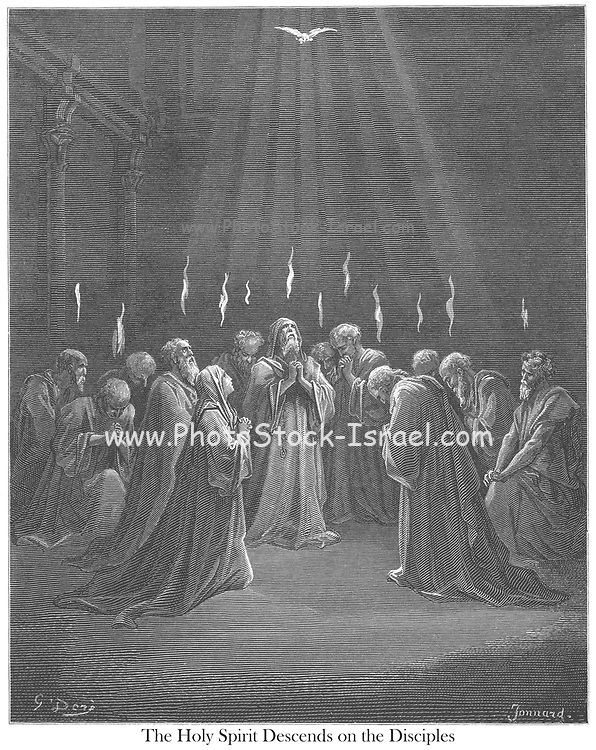 The Descent of the Holy Spirit [Acts 2:2-3] From the book 'Bible Gallery' Illustrated by Gustave Dore with Memoir of Dore and Descriptive Letter-press by Talbot W. Chambers D.D. Published by Cassell & Company Limited in London and simultaneously by Mame in Tours, France in 1866