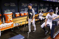 June 9, 2017 - St. Petersburg, Florida, U.S. - WILL VRAGOVIC   |   Times.Tampa Bay Rays center fielder Kevin Kiermaier (39) on crutches in the dugout before the start of the game between the Tampa Bay Rays and the Oakland Athletics at Tropicana Field in St. Petersburg, Fla. on Friday, June 79, 2017. Kevin Kiermaier will miss about two months with a fractured hip. (Credit Image: © Will Vragovic/Tampa Bay Times via ZUMA Wire)