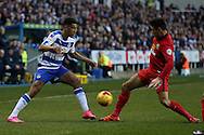 Nick Blackman of Reading is challenged by Ben Marshall of Blackburn Rovers. Skybet football league championship match, Reading  v Blackburn Rovers at The Madejski Stadium  in Reading, Berkshire on Sunday 20th December 2015.<br /> pic by John Patrick Fletcher, Andrew Orchard sports photography.