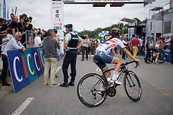 Lizzie Deignan makes her way to the start line at Grand Prix de Plouay Lorient Agglomération a 121.5 km road race in Plouay, France on August 26, 2017. (Photo by Sean Robinson/Velofocus)